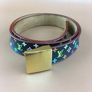 Louis Vuitton Multicolore Black Leather Belt